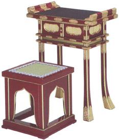 中京型背高経机・椅子(筆返し・金具付)